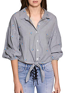 Clover Embroidery Tie Shirt