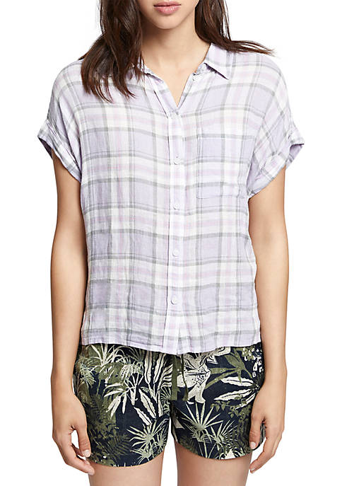 Sanctuary Essential Short Sleeve Plaid Boyfriend Shirt