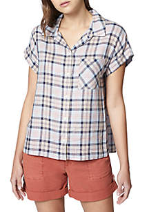 Mod Short Sleeve Plaid Boyfriend Shirt