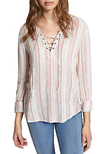 Essential Tommie Stripe Lace-Up Shirt