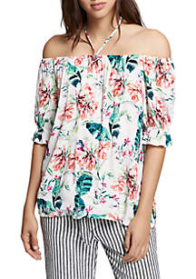Sandy Floral Off-The-Shoulder Neck Blouse