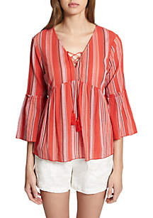Sedona Lace Stripe Peasant Top