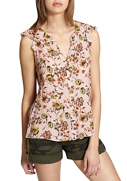 Sanctuary Ruffle Sleeve Floral Craft Shell Tank