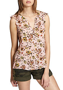 Ruffle Sleeve Floral Craft Shell Tank