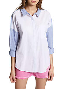 Mix-It-Up Tie Back Boyfriend Shirt