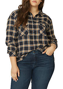 Plus Size Plaid Boyfriend Top