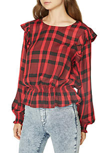 Millie Plaid Ruffle Blouse