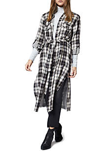 Plaid Boyfriend Midi Tie Shirt