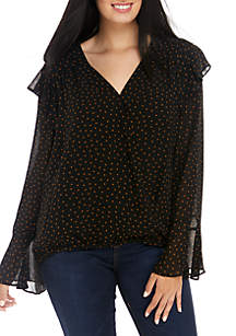 Plus Size Polka Dot Wrap Front Blouse