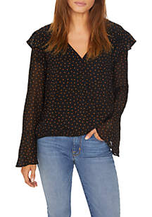 Cori Ruffle Dot Wrap Blouse