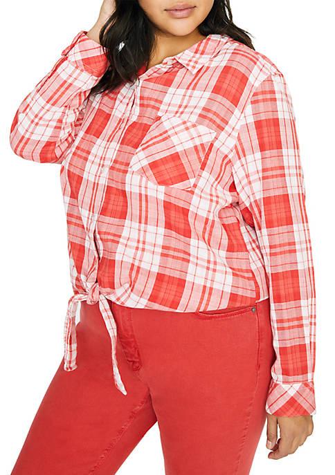 Plus Size Haley Tie Front Shirt