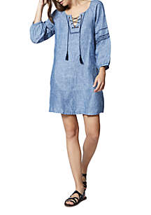 Mirabelle Lace-Up Denim Dress