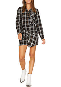 Plaid Wrap Shirt Dress