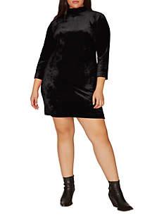 Plus Size Endless Night Velour Shift Dress