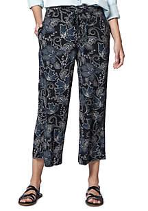 Sanctuary Calypso Wide Leg Printed Crop Pants