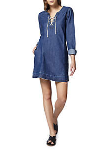 Faith Lace-Up Denim Shift Dress