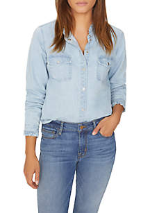 Ruffle Collar Denim Shirt