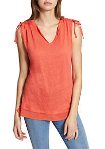 Nora Mixed Media Sleeveless Tee