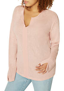 Long Sleeve Split Neck Top