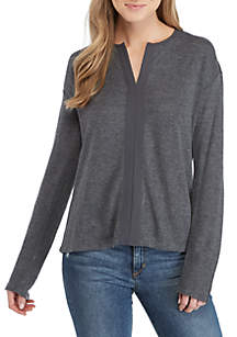 Sienna Long Sleeve Split Neck Top
