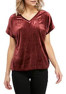 Holly V-Neck Velour Tee