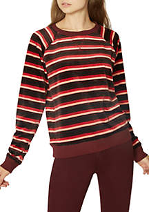 La Brea Stripe Velour Sweatshirt