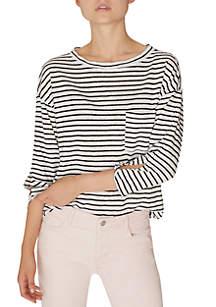 Sanctuary Emmett One Pocket Stripe Linen Top