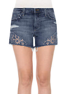 Embroidered Cut Off Jean Short
