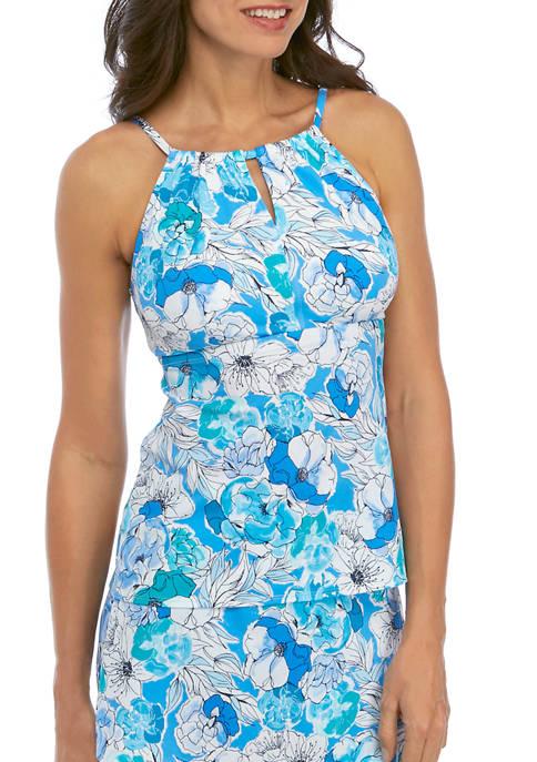 Kim Rogers® Beachy Blooms High Neck Tankini Swim