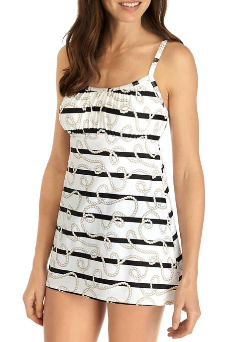 Knot and Stripe Swim Dress with Tummy Control