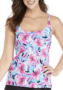 Windy Floral V-Neck Ruffle Swim Tankini Top
