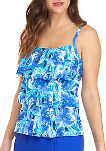 Kim Rogers® Windy Floral Triple Tier Swim Tankini Top