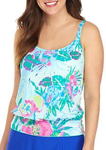 Kim Rogers® Punchy Petals Blouson Swim Tankini