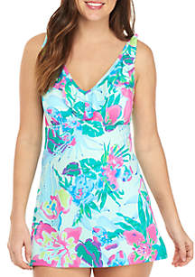 Kim Rogers® Punchy Petals V-Neck Ruffle Swim Dress