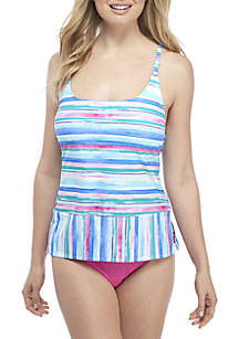 Kim Rogers® Painted Stripes Strappy Back Tankini Swim Top