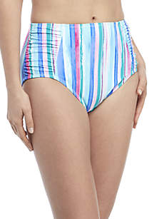 Kim Rogers® Painted Stripes Side Shirred Swim Bottoms