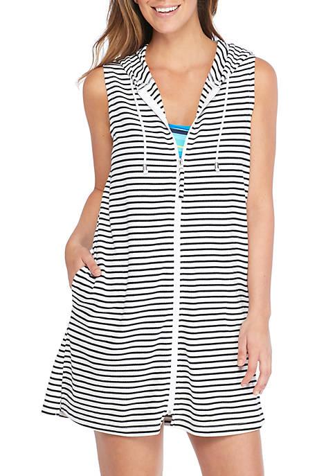 Stripe Full Zip Hoodie Swim Dress