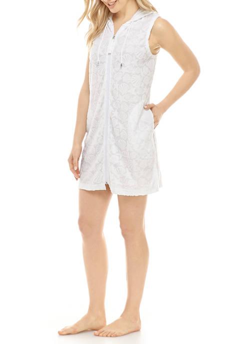 Lara Shells Terry Cloth Spa Dress Swim Cover Up