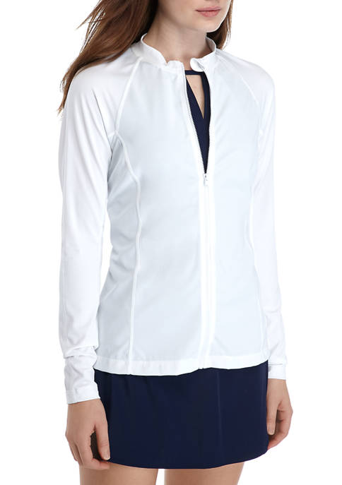 Kim Rogers® Long Sleeve Zip Front Swim Shirt