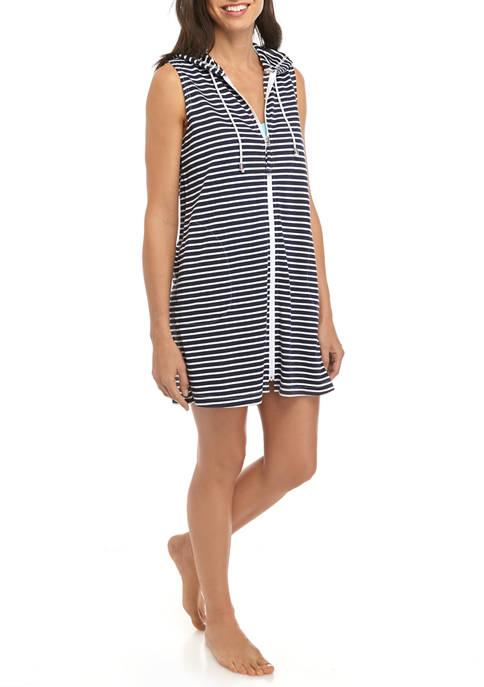 Womens Sand Stripe Zip Up Spa Dress