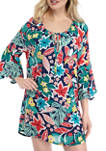 Floral Beauty Crepe Tunic Swim Cover Up