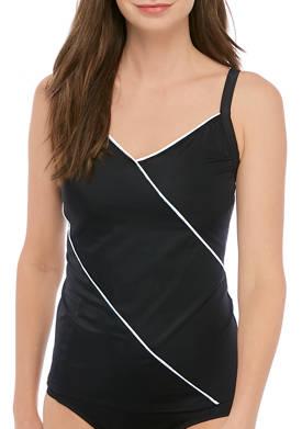 Fine Lines Solid V-Neck Tankini Swim Top