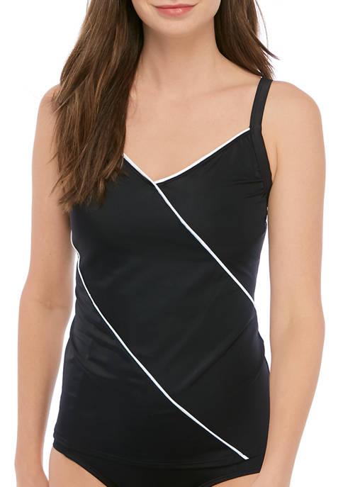 Kim Rogers® Fine Lines Solid V-Neck Tankini Swim