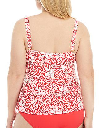 f00250bc0a955 Kim Rogers® Plus Size Tossed Petals Ruffle Swim Tankini   belk