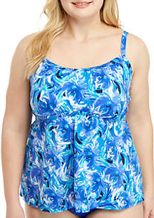 Kim Rogers® Plus Size Windy Floral Shirred Peasant Tankini Swim Top