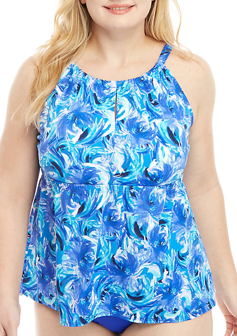 Kim Rogers® Plus Size Windy Floral High Neck