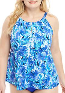 Kim Rogers® Plus Size Windy Floral High Neck Swim Tankini