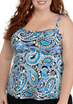 Plus Size Paisley Power Shirred Swim Tankini Top