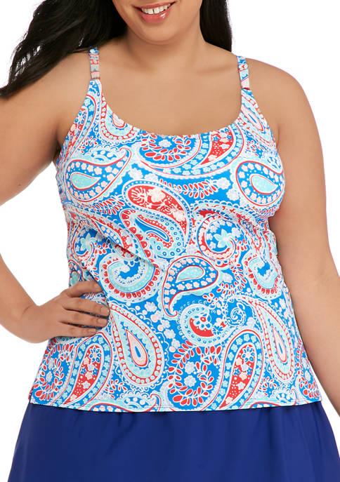 Kim Rogers® Plus Size Paisley Swim Tankini Top