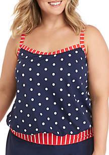 60e66ef70c ... Kim Rogers® Plus Size Classic Mix Dot Print Swim Tankini Top